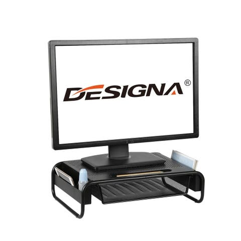 """Designa Mesh Metal Vented Monitor Riser Stand with Pull Out Storage Drawer for Laptop, Imac with 18.2 Platform 5""""H - Black"""