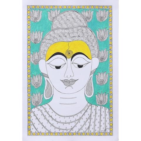 Handmade Buddha at Peace Madhubani Painting (India)