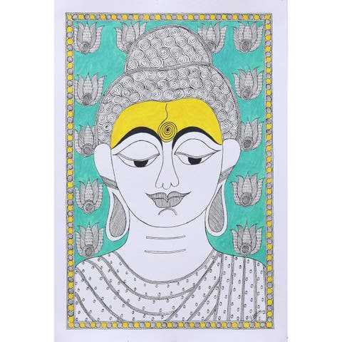 Buddha at Peace Madhubani painting