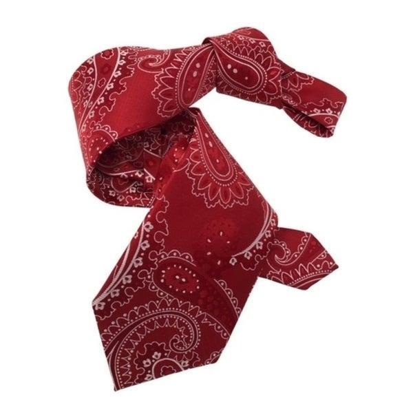 DMITRY 7-Fold Red Paisley Italian Silk Tie
