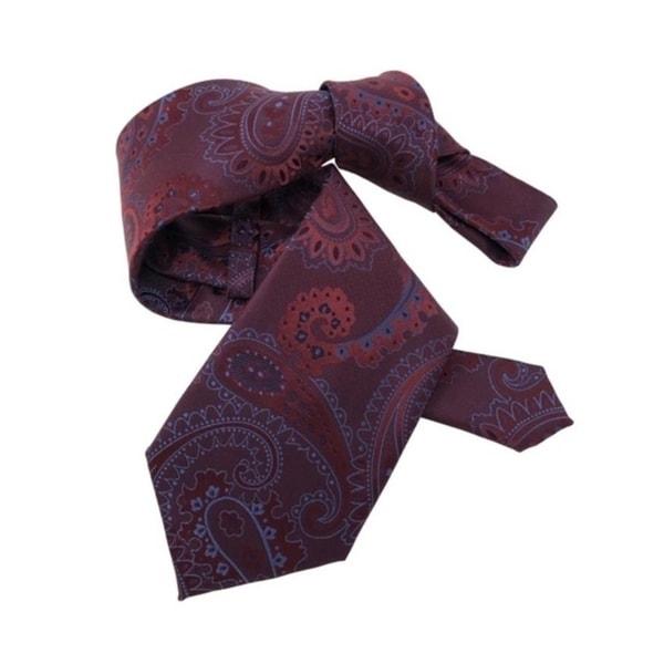 DMITRY 7-Fold Maroon/Blue Paisley Italian Silk Tie