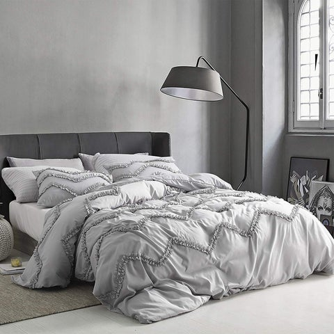Textured Ruffles Bedding - Oversized Comforter - Chevron Glacier Gray