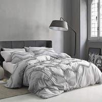 Textured Ruffles Bedding - Oversized Comforter - Chevron Glacier Gray