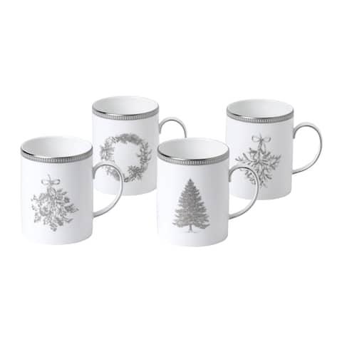 Winter White Mugs, Set of 4