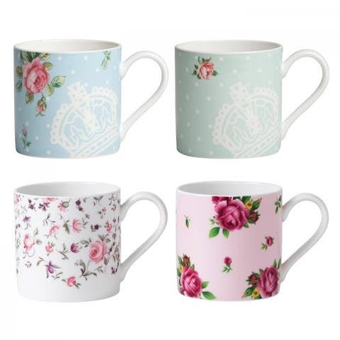 New Country Roses Tea Party Mixed Patterns Mugs, Set of 4