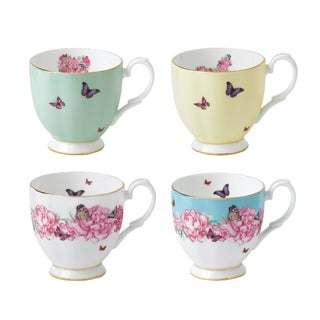 Mixed Patterns Vintage 10.5-ounce Mugs, Set of 4