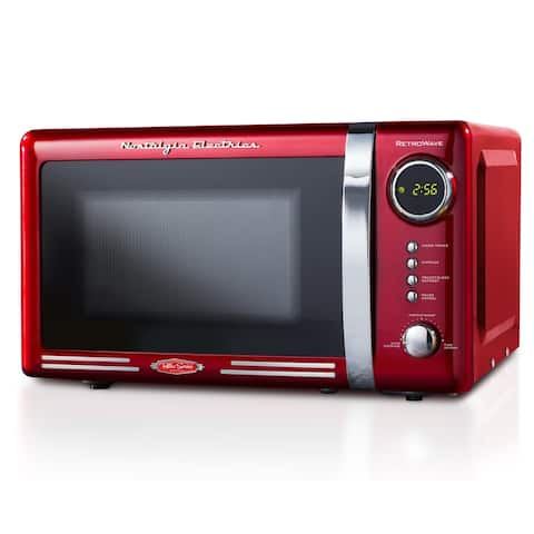Nostalgia RMO7RR Retro 0.7 Cubic Foot 700-Watt Countertop Microwave Oven, Retro Red