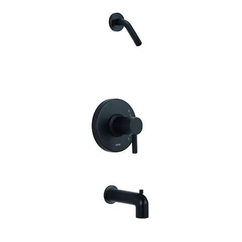 Amalfi 1H Tub & Shower Trim Kit & Treysta Cartridge w/ Diverter on Spout Less Showerhead Satin Black