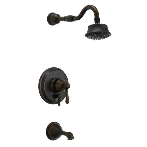 Opulence 1H Tub & Shower Trim Kit & Treysta Cartridge w/ Diverter on Valve & 5 Function Showerhead 1.75gpm Tumbled Bronze