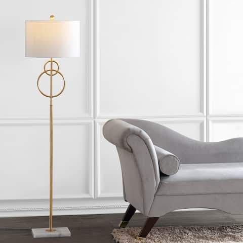 """Haines 60"""" Modern Circle Marble/Metal LED Floor Lamp, Gold by JONATHAN Y"""