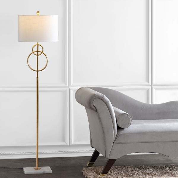 Shop Haines 60 Quot Modern Circle Marble Metal Led Floor Lamp Gold By Jonathan Y Overstock 28263229