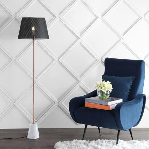 "Heymann 57"" Minimalist Metal/Marble LED Floor Lamp, Copper by JONATHAN Y"