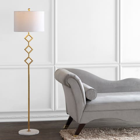 """Diamante 61.5"""" Modern Gilt Metal with Marble Based LED Floor Lamp, Gold/White by JONATHAN Y"""