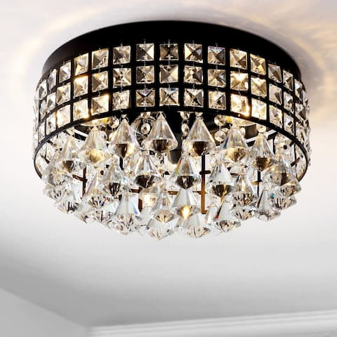 """Meredith 14.5"""" 3-Light Crystal Drops LED Flush Mount by JONATHAN Y"""