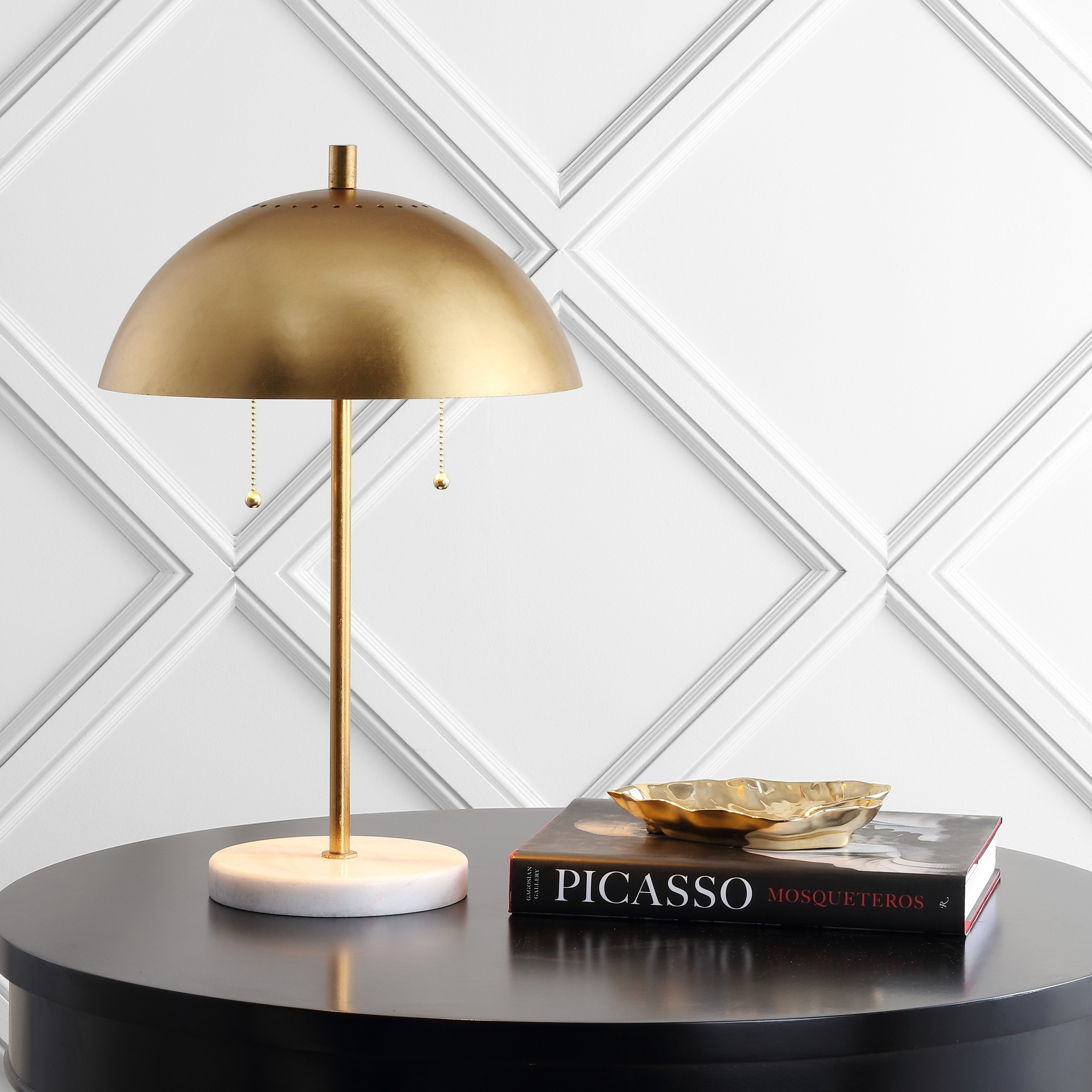 Ella 20 7 Dome Metal With Marble Base Led Table Lamp Gold White By Jonathan Y Overstock 28263251
