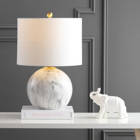 """Luna 21.5"""" Faux Marble Resin LED Table Lamp, White/Brass Gold by JONATHAN Y"""