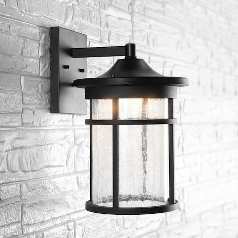 "Porto 14"" Outdoor Lantern Crackled Glass LED Sconce by JONATHAN Y"
