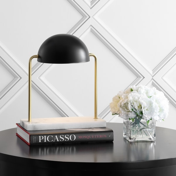 """Porter 13.5"""" Art Deco Dome Lamp with Marble Base, Brass Gold/Black by JONATHAN Y"""