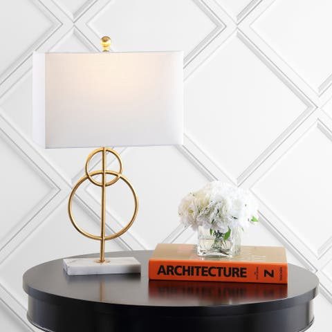 """Haines 26"""" Modern Circle Marble/Metal LED Table Lamp, Gold by JONATHAN Y"""