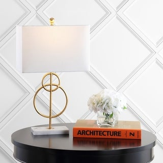 "Link to Haines 26"" Modern Circle Marble/Metal LED Table Lamp, Gold by JONATHAN  Y Similar Items in Table Lamps"