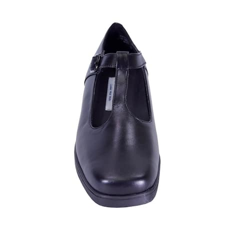 24 HOUR COMFORT Tracy Extra Wide Width Cushioned T-Strap Leather Shoes