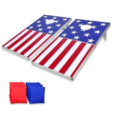 GoSports Cornhole PRO Regulation Size Bean Bag Toss Game Set American Flag Design - American Flag - 4' x 2'