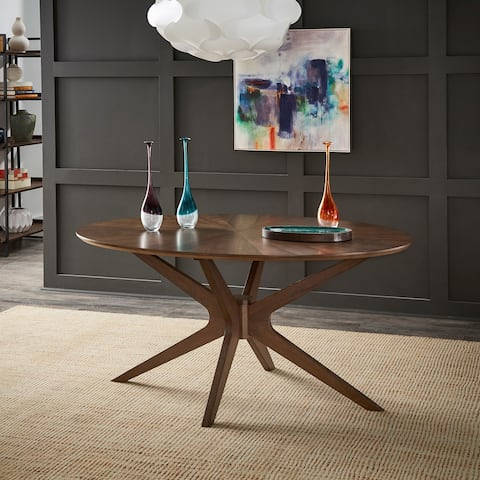 Rondo Walnut Finish Oval Dining Table by iNSPIRE Q Modern - Dining Table