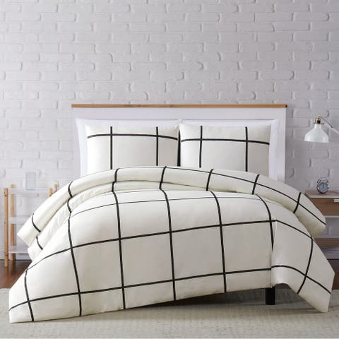Carson Carrington Tomnas Windowpane 3-piece Duvet Set