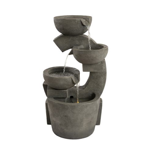 4-Tier Fountain  Modern Electric Outdoor Cascading Water Feature with LED Lights by Pure Garden - 15 x 16.5 x 29