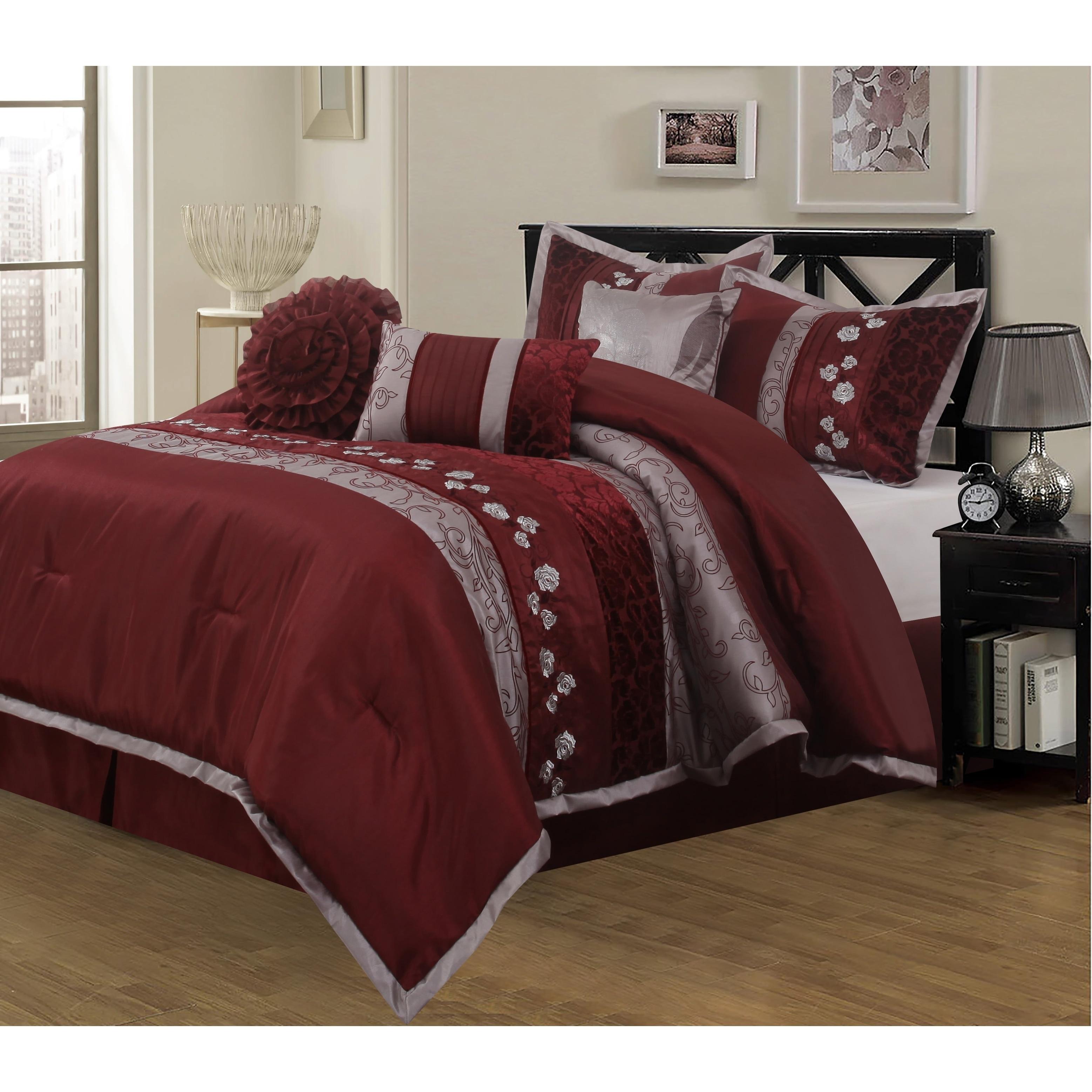 Nanshing Riley Wine 7 Piece California King Size Bedding Comforter Set As Is Item Overstock 28263450