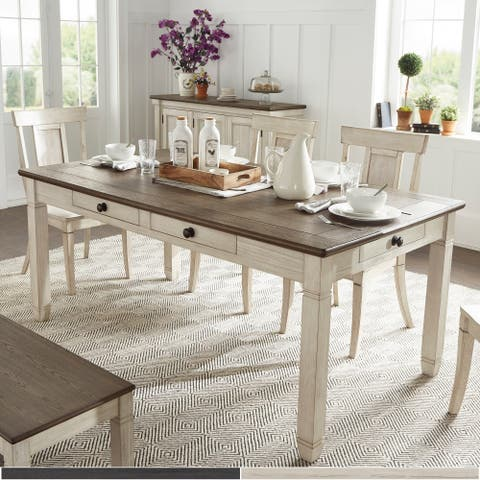 The Gray Barn Gamgee Grange Brown and Antique Finish Dining Table with 6 Drawers
