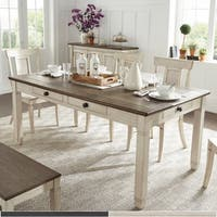 Eleanor Brown and Antique Finish Dining Table with Six Drawers by iNSPIRE Q Classic