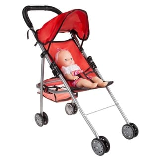 """Toy Stroller for 10"""" Baby Dolls- Lightweight Umbrella Stroller with Rear Basket and Canopy by Hey! Play! - Red - 9' x 13'"""