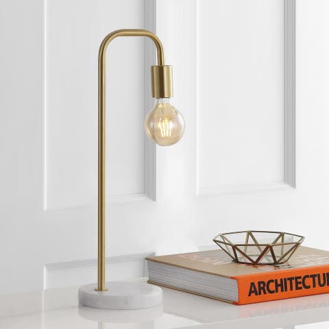 "Axel 20.5"" Minimalist Glam Gold Pipe LED Table Lamp, by JONATHAN Y"