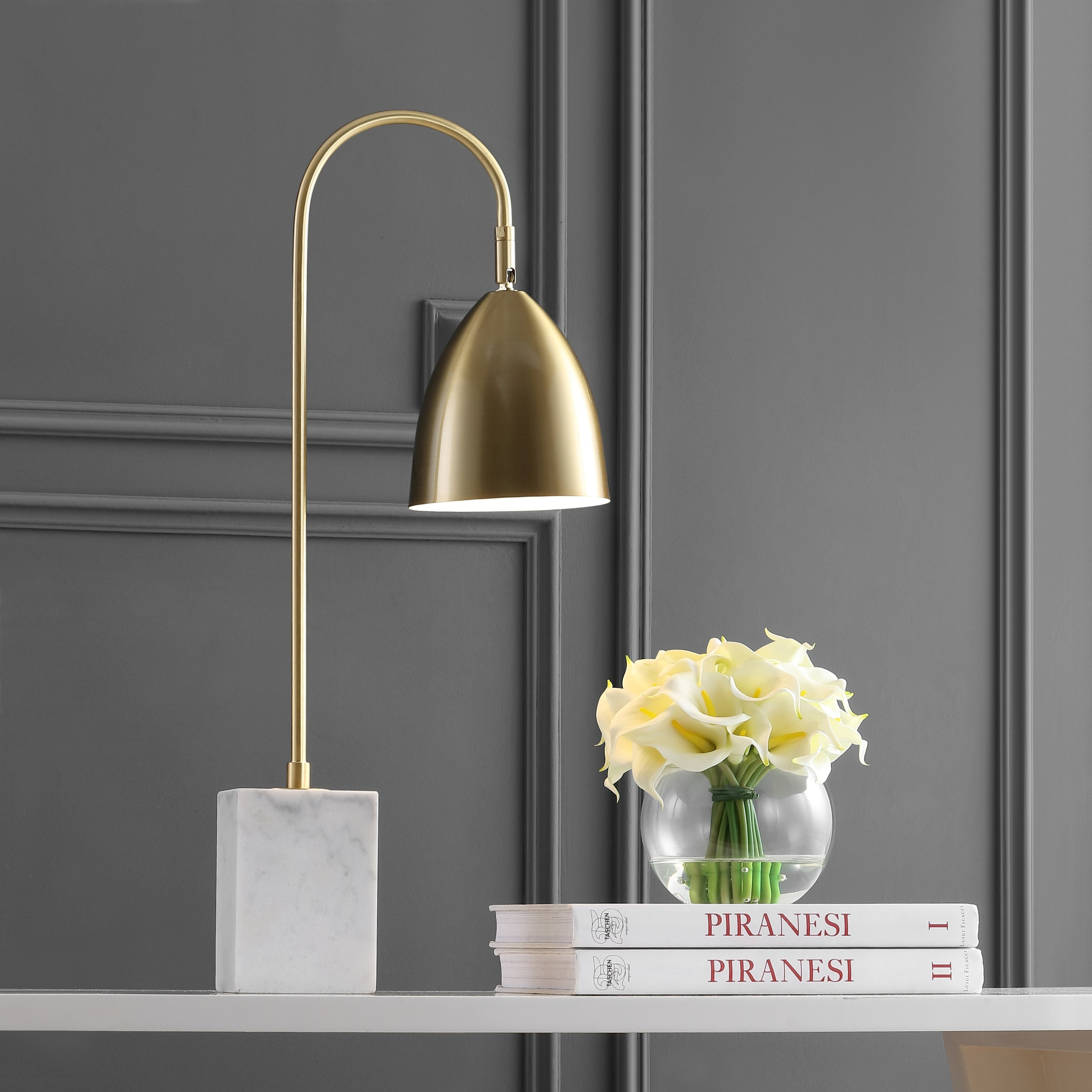 Picture of: Ana 26 Arched Metal With Marble Base Led Table Lamp By Jonathan Y Overstock 28263505