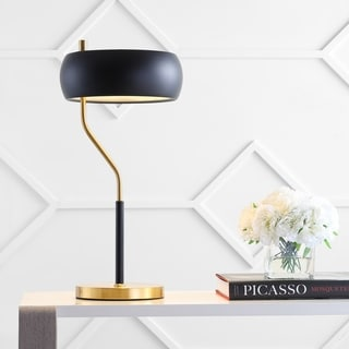 "Link to Oskar 22.5"" Moody Metal LED Desk Lamp, Black/Brass Gold by JONATHAN  Y Similar Items in Table Lamps"