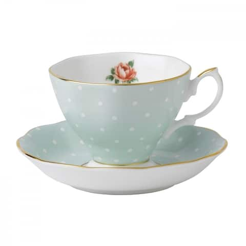Polka Rose Teacup and Saucer Set