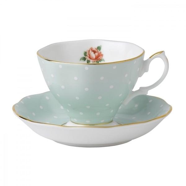 Polka Rose Teacup and Saucer Set