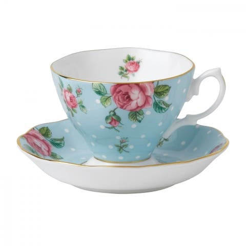 Polka Blue Teacup and Saucer Set