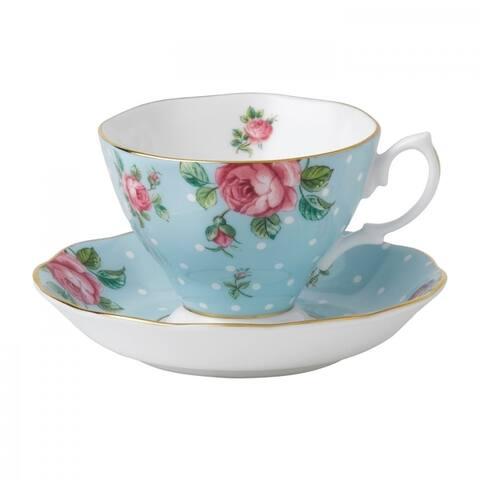 Polka Blue Teacup and Saucer Set