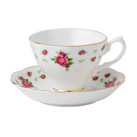 New Country Roses White Teacup and Saucer Set