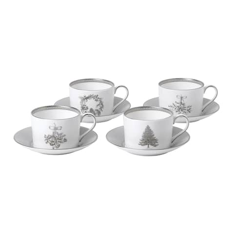 Winter White Teacup and Saucer, Set of 4
