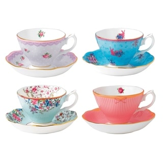 Candy Mixed Patterns Teacup and Saucer, Set of 4