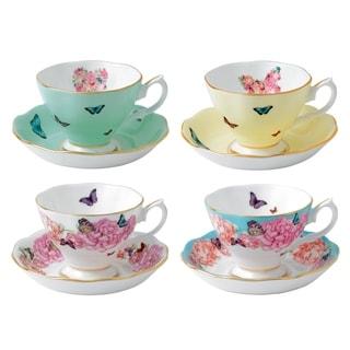 Mixed Patterns Teacup and Saucer, Set of 4