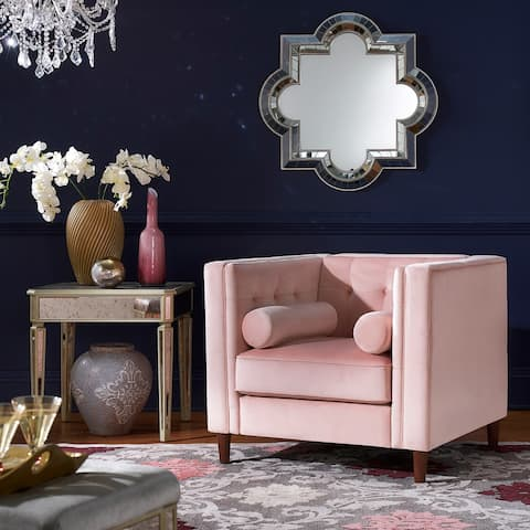 Beverly Pink Velvet Arm Chair with Pillows by iNSPIRE Q Bold