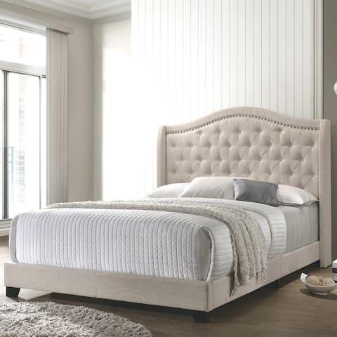 Modern Elegant Demi-Wing Design Button Tufted Beige Upholstered Bed