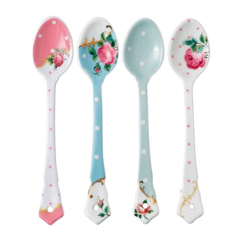 New Country Roses Tea Party 4-piece Ceramic Spoons
