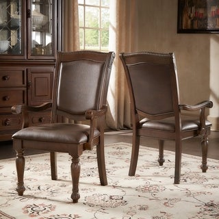 Copper Grove Kyffhauser Brown Faux Leather Dining Chairs (Set of 2)