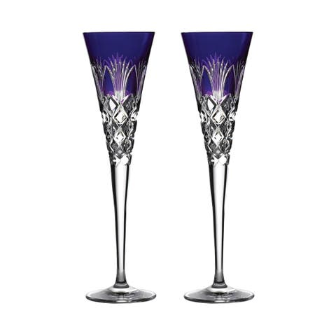 Times Square 2020 Gift of Goodwill Ultra Violet Flute Glasses, Set of 2