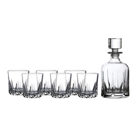 Mode 7-piece Tumblers and Whiskey Decanter